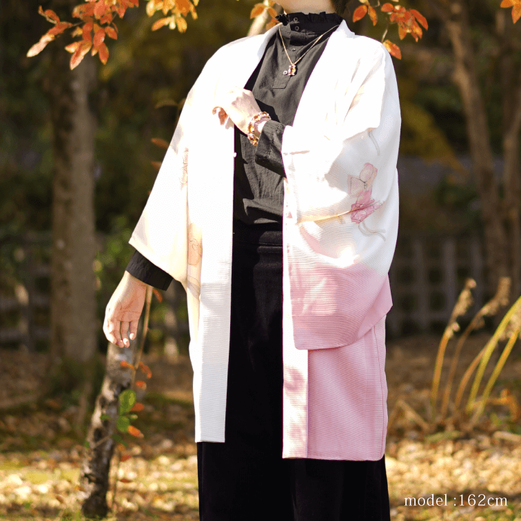 Pink gradation and flowers design Haori