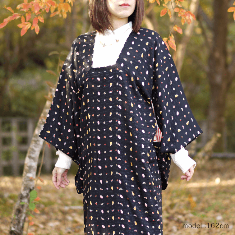 Black michiyuki with cute modern pattern,Japanese kimono,womens haori,KAWAII