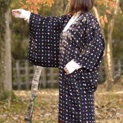 Black michiyuki with cute modern pattern,Japanese vintage kimono,womens haori,KAWAII