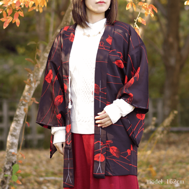 Red leaf design black Haori