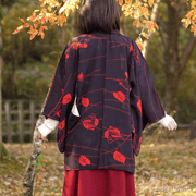 Red leaf design black haori,Japanese vintage kimono,womens haori
