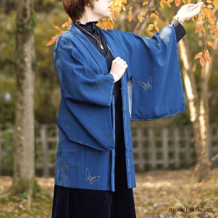Butterfly design navy haori coat,Japanese vintage kimono,womens haori