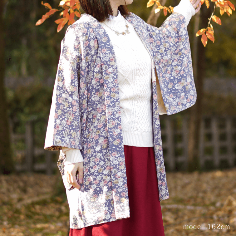 Purple autumn leaves and retro modern pattern Haori,,Japanese kimono,womens haori