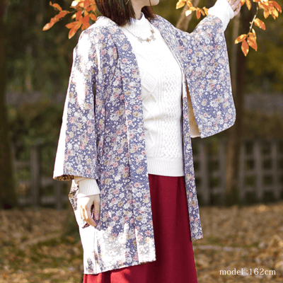 Purple autumn leaves and retro modern pattern haori,Japanese vintage kimono,womens haori Kimetsu no yaiba samurai