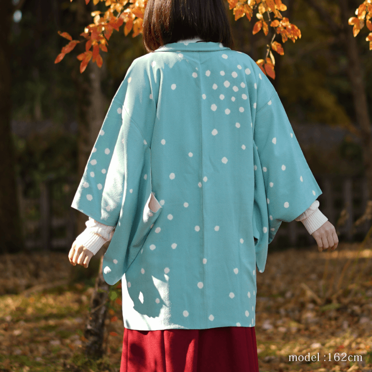 White polka dot blue Haori coat