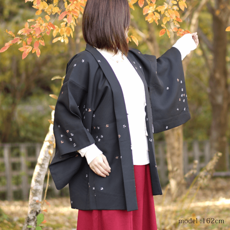 Black Haori with butterfly, Japanese kimono, womens haori