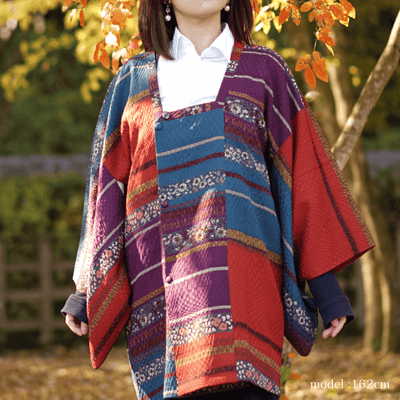 Red and colorful floral design haori,Japanese vintage kimono,womens haori kimetsu no yaiba samurai