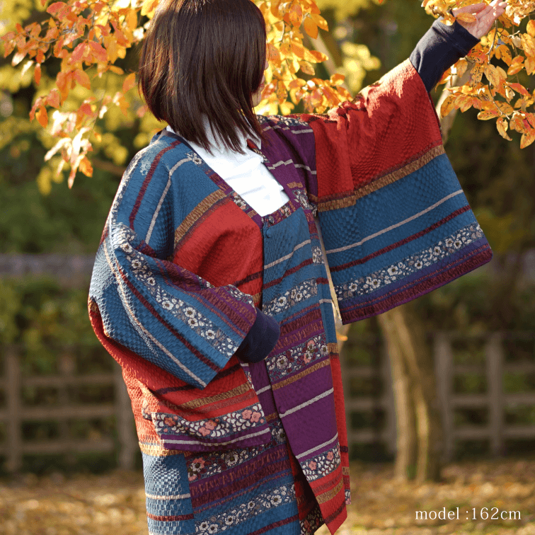 Red and colorful flowral design haori,Japanese kimono,womens haori