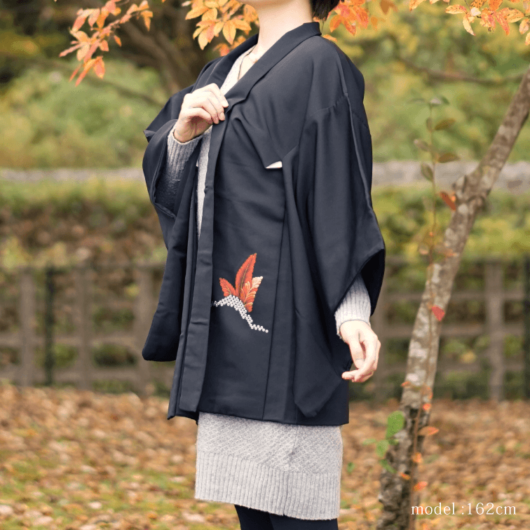 Black haori with beautiful japanese picture,Japanese kimono,womens haori