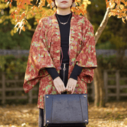 Orange autumn color flower design haori,Japanese vintage kimono,womens haori Kimetsu no yaiba