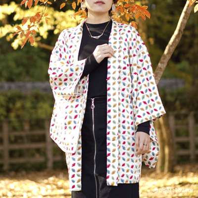 Colorful cute pattern on white haori,Japanese vintage kimono,womens haori