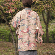 Brown autumn flower haori,Japanese vintage kimono,womens haori