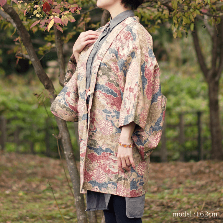 Brown autumn flower haori,Japanese kimono,womens haori