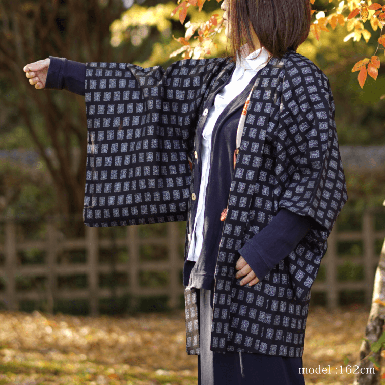 Black haori with blue pattern,Japanese kimono,womens haori