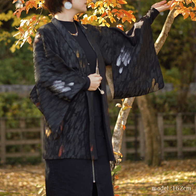 Black haori with shiny brush pattern,Japanese kimono,womens haori