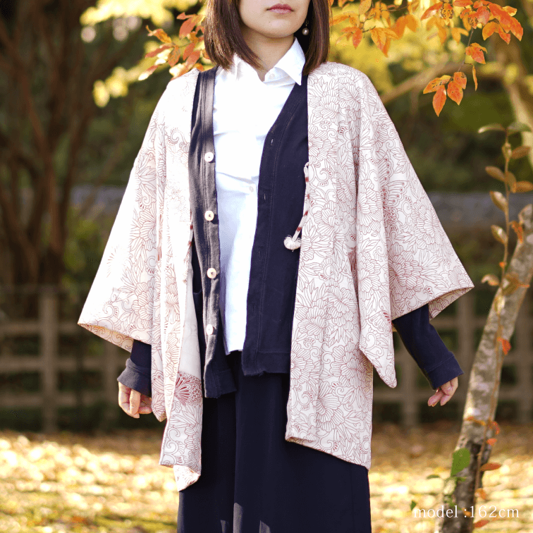 White haori with red pattern