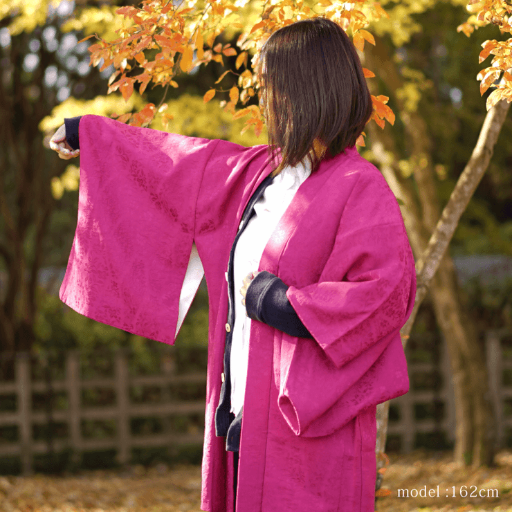 Pink purple haori with embossed design,Japanese vintage kimono,womens haori Kimetsu no yaiba samurai