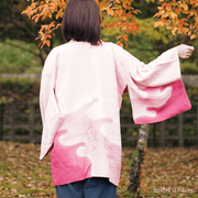 Pink with red white gradation haori,Japanese vintage kimono,womens haori Kimetsu no yaiba samurai