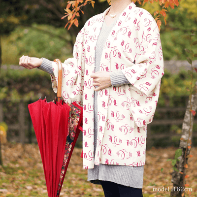Red modern pattern on white haori,Japanese vintage kimono,womens kimetsu no yaiba samurai