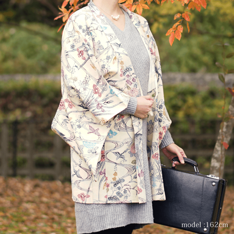 Beautiful flower white haori ,Japanese kimono,womens haori