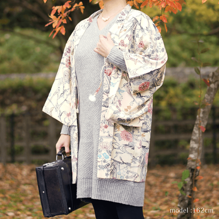 Beautiful flower white haori ,Japanese vintage kimono,womens haori
