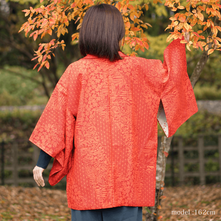 Orange modern pattern haori,Japanese kimono,womens haori