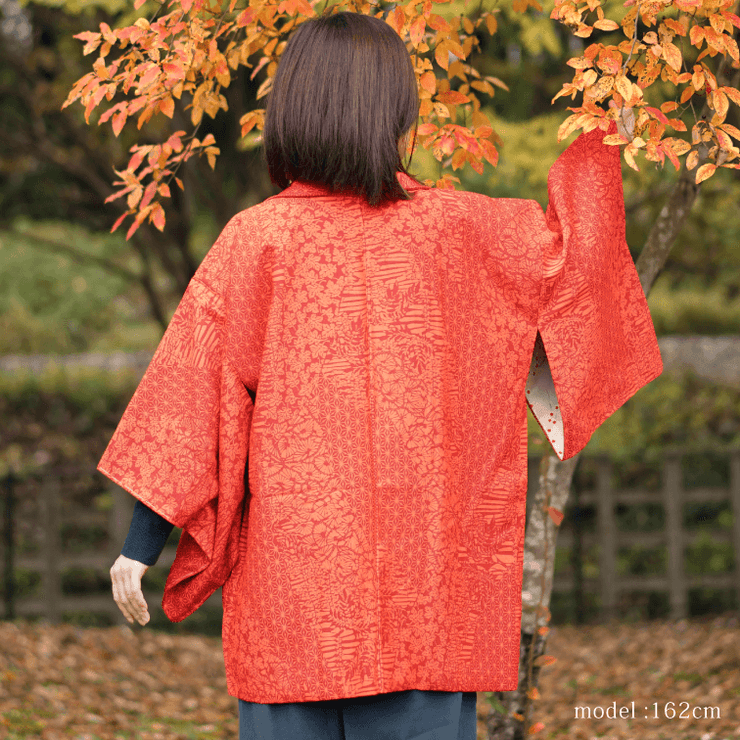 Orange modern pattern haori,Japanese vintage kimono,womens haori