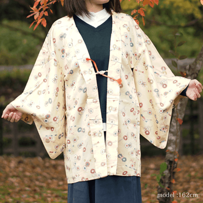 Cute design yellow haori,Japanese vintage kimono,womens haori