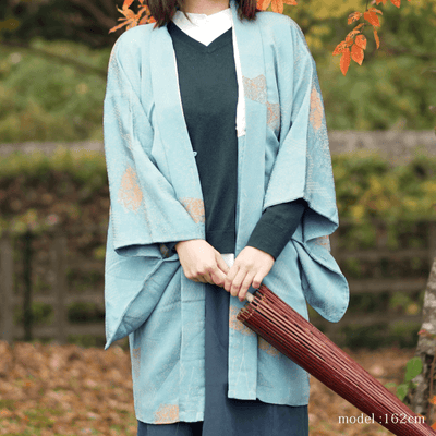 Light blue haori with chic flower design,Japanese vintage kimono,womens haori Kimetsu no yaiba
