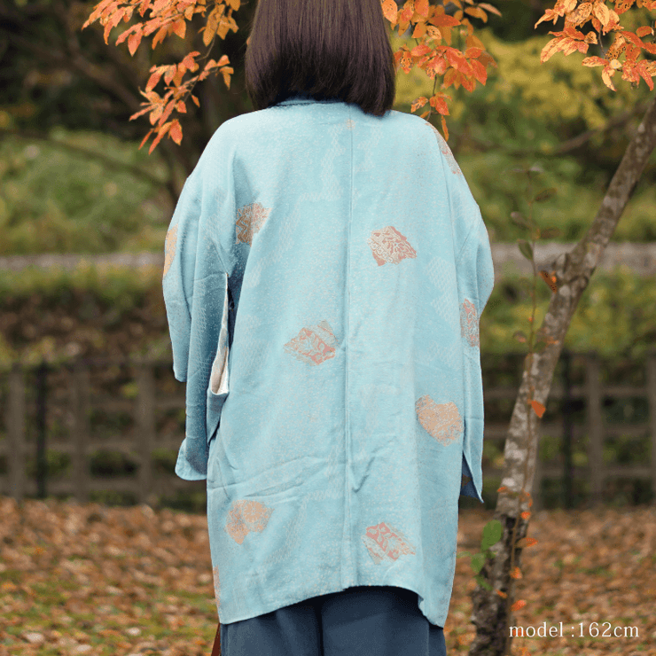 Light blue haori with chic flower design,Japanese vintage kimono,womens haori