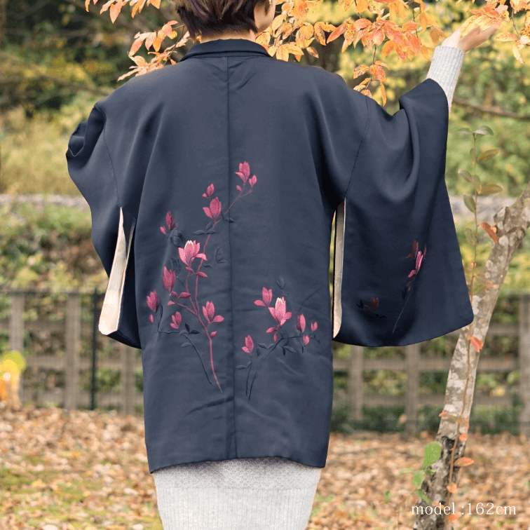 Black haori with red flower design,Japanese kimono,womens haori