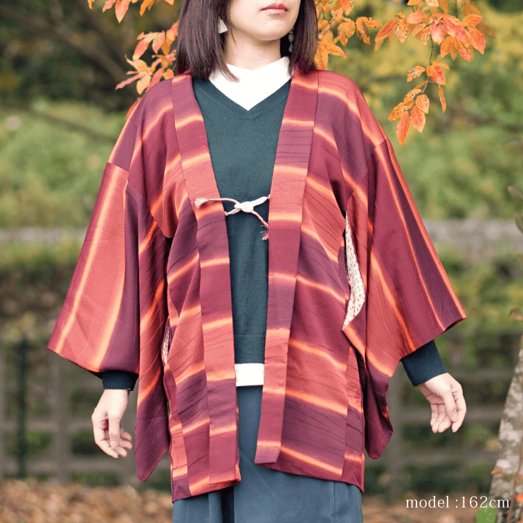 Red retro stripe design haori,Japanese kimono,womens haori