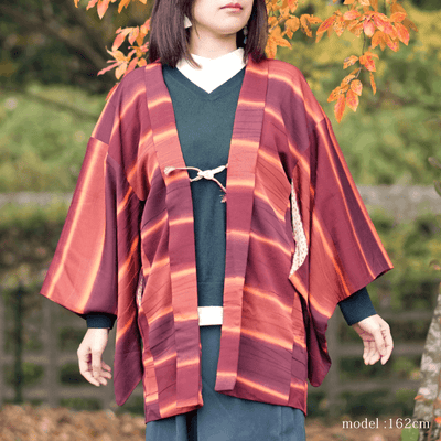 Red retro stripe design haori,Japanese vintage kimono,womens haori