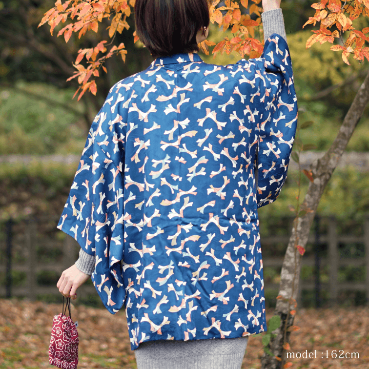 Blue haori with japanese ribbon design,Japanese kimono,womens haori