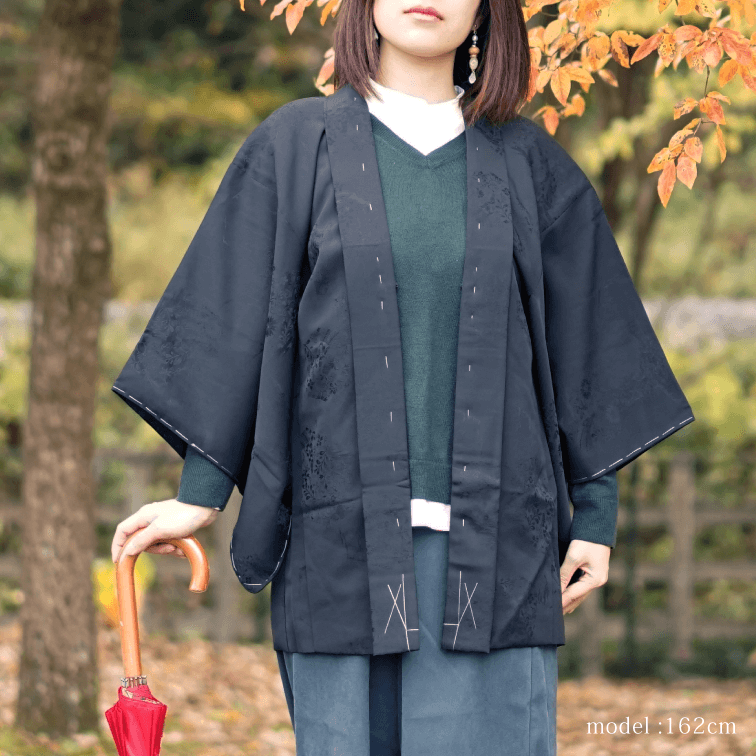 Embossed flowerplants design black haori,Japanese kimono,womens haori