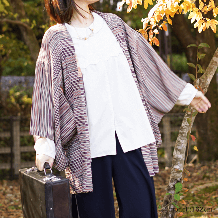 Japanese color stripe haori,Japanese kimono,womens haori