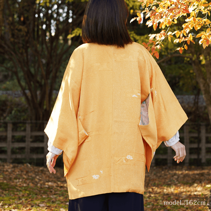 Pumpkin orange haori with white design,Japanese vintage kimono,womens haori Kimetsu no yaiba samurai