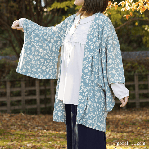 Beautiful flowerplant design blue haori,Japanese kimono,womens haori