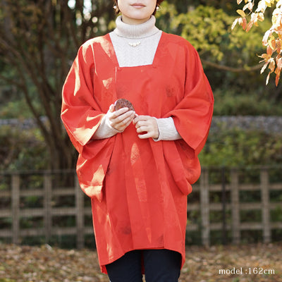 Red Orange Japanese michiyuki,Japanese kimono,womens haori