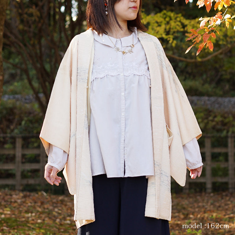 Beautiful japanese design on white haori,Japanese kimono,womens haori
