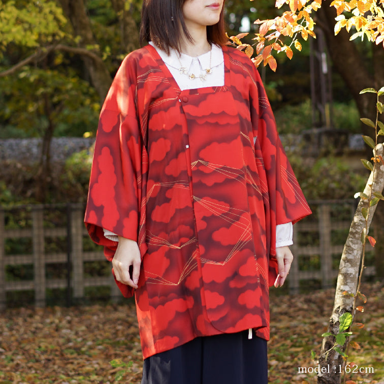 Red Michiyuki with cloud and ray design,Japanese kimono,womens haori