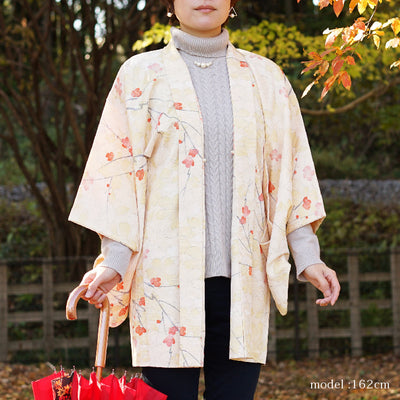 Milky white haori with cute japanese flower design,Japanese vintage kimono,womens haori Kimetsu no yaiba