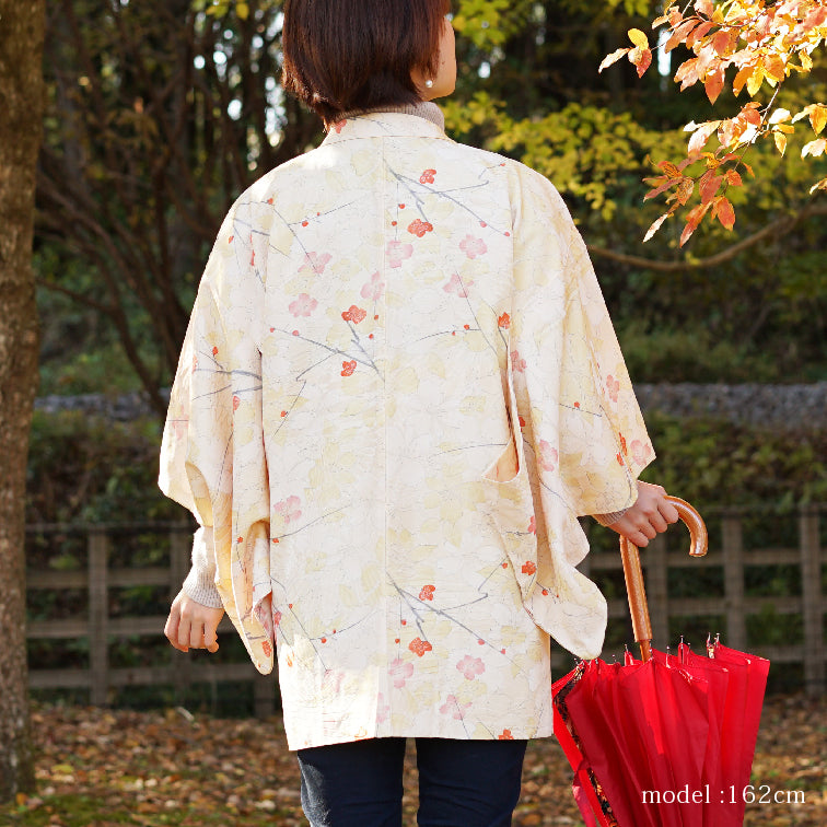 Milky white haori with cute japanese flower design,Japanese kimono,womens haori