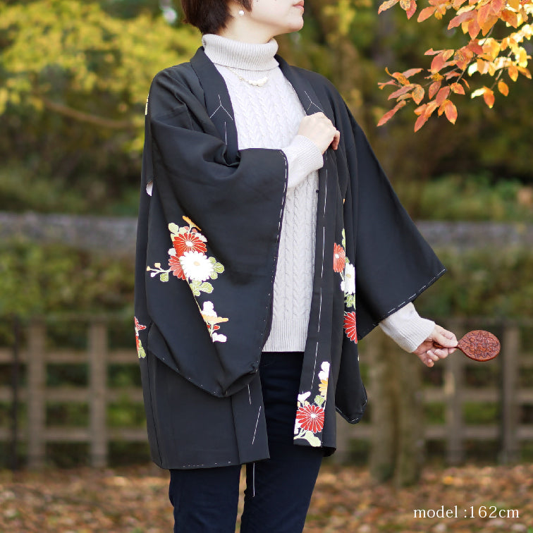 Beautiful flower design black haori,Japanese kimono,womens haori