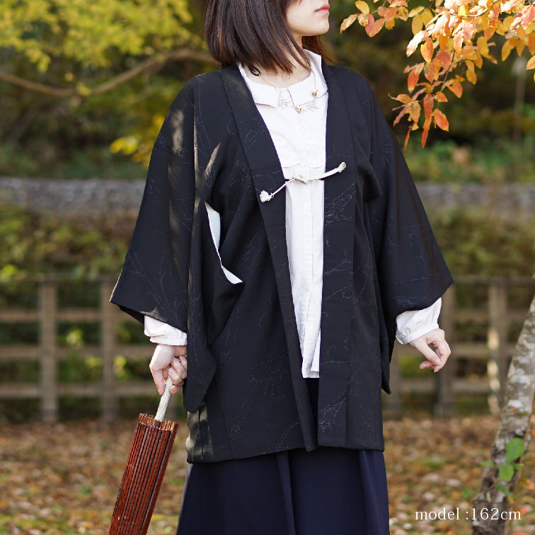 Black haori with blue-silver cool design,Japanese kimono,womens haori