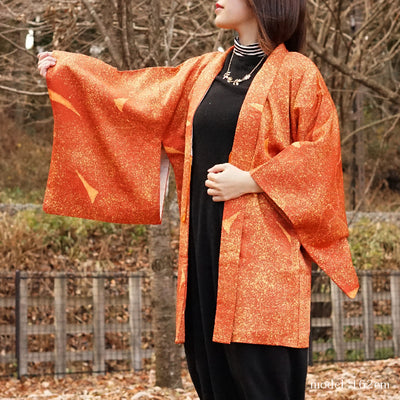 Orange beautiful modern deisgn haori,Japanese vintage kimono,womens haori Kimetsu no yaiba