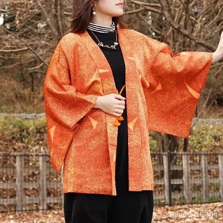 Orange beautiful modern deisgn haori,Japanese vintage kimono,womens haori
