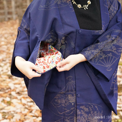 Navy blue michiyuki with gold japanese fan design,Japanese vintage kimono,womens Kimetsu no yaiba