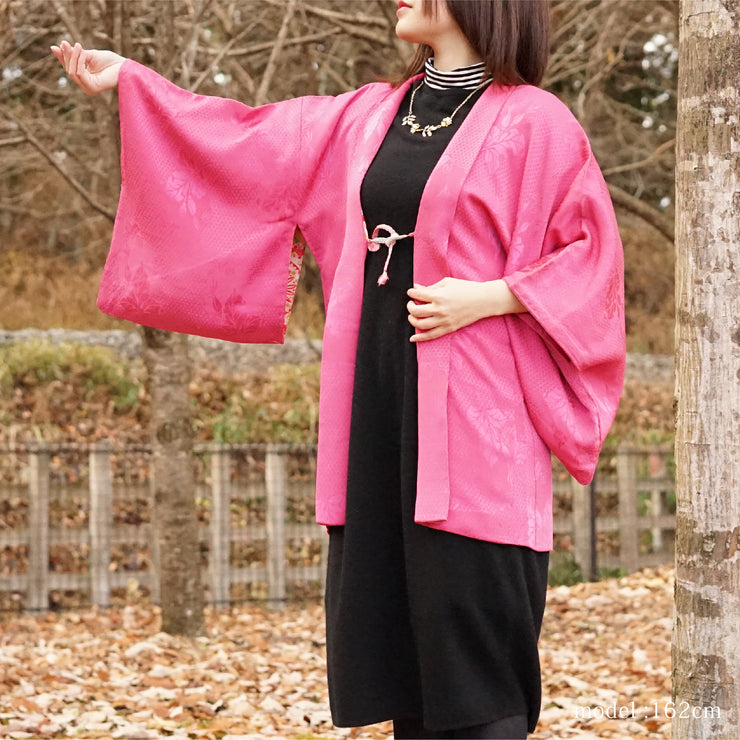 Pink haori with embossed leaf design,Japanese vintage kimono,womens haori Kimetsu no yaiba