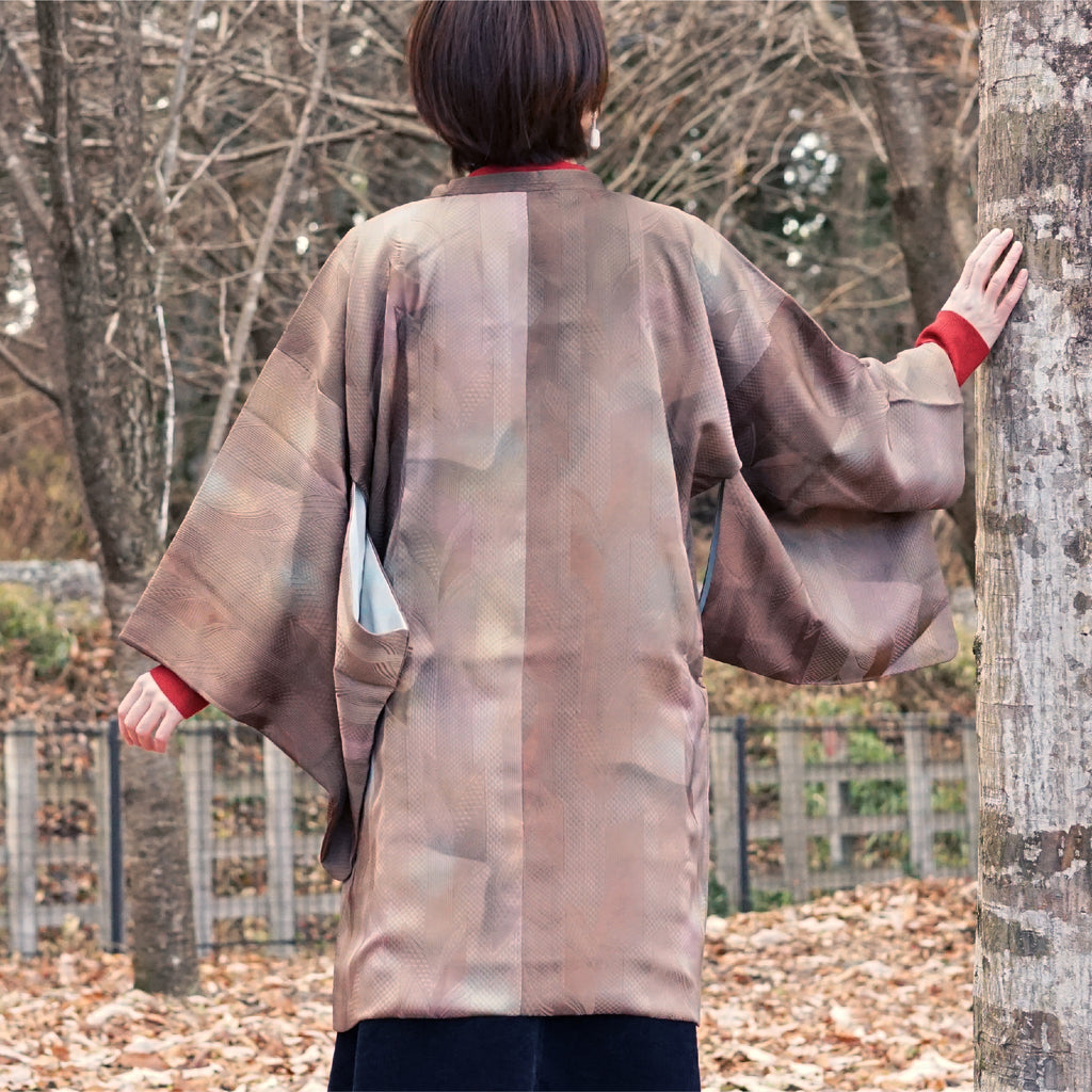 Brown gradation color michiyuki,Japanese kimono,womens haori
